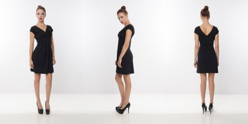 Look 12 - V neck Flare Front A Line Rayon Woven Little Black Dress