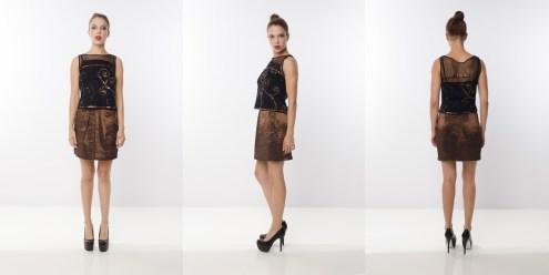 Look 14 - Metallic Embroidered Mesh Blouse . High Shine Metallic Bronze Skirt