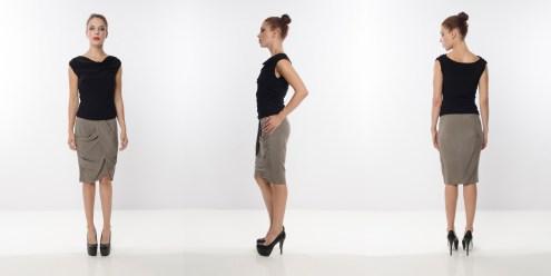 Look 18 – Draped Front Black Rayon Knit Top . Asymmetrical Layering Silk Grey Woven Pencil Skirt