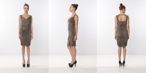 Look 6 - Drapes Front Open Back Beige Rayon Knit Evening Ruching Dress