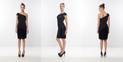 Look 7 –Open Shoulder Metallic Lightweight Black Knit Evening Ruching Dress