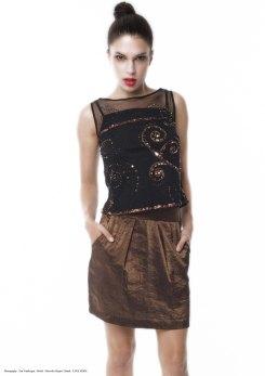 yane mode . lookbook . artisan . Look 14 - Metallic Embroidered Mesh Blouse . High Shine Metallic Bronze Skirt