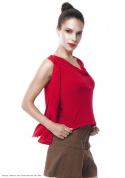 yane mode . lookbook . artisan . Look 17 – A line Woven Silk Flare Layering Red Knit Top . High Waisted Pleated Brown Skirt