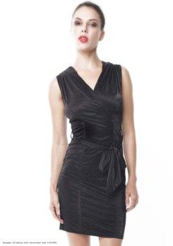 yane mode . lookbook . artisan . Look 2 – High Shine Supreme Lightweight Tie Waist Black Rayon Knit Party Dress