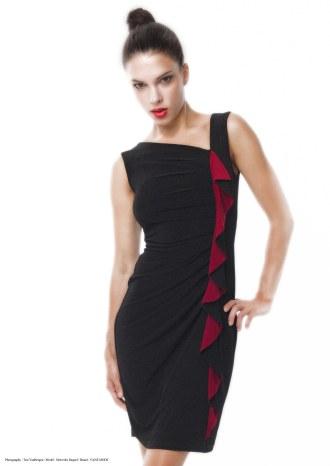 yane mode . lookbook . artisan . Look 5 - Asymmetrical Ruffles Contract Detail Wrap Black Rayon Knit Work Dress