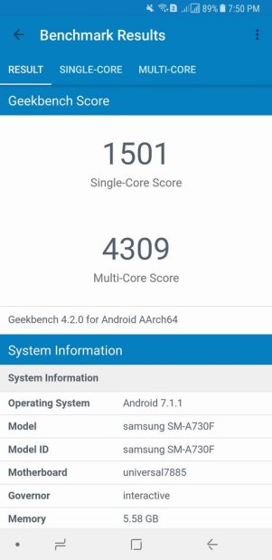 Samsung Galaxy A8+ Geekbench