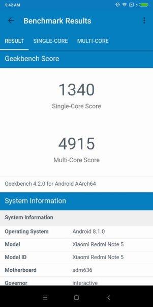 Redmi Note 5 Geekbench