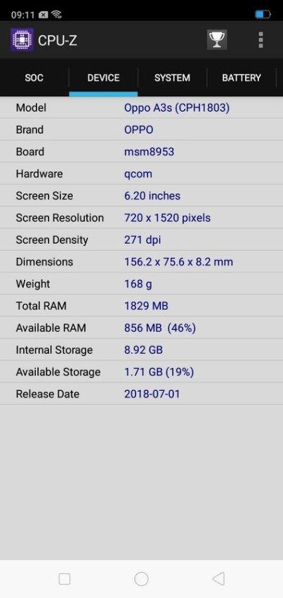 Oppo A3s CPU Z (2)