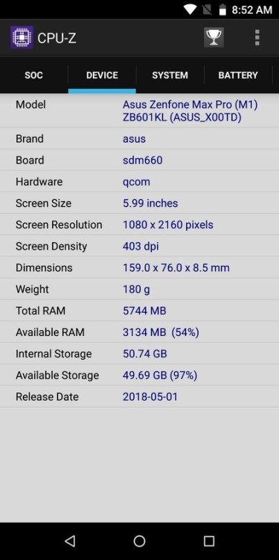 ZenFone Max Pro M1 6 GB CPU Z (2)