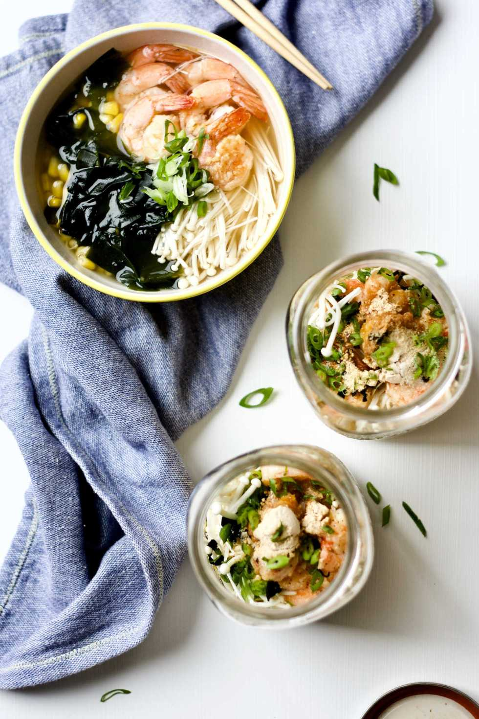 Asian seafood bone broth instant noodle jar.