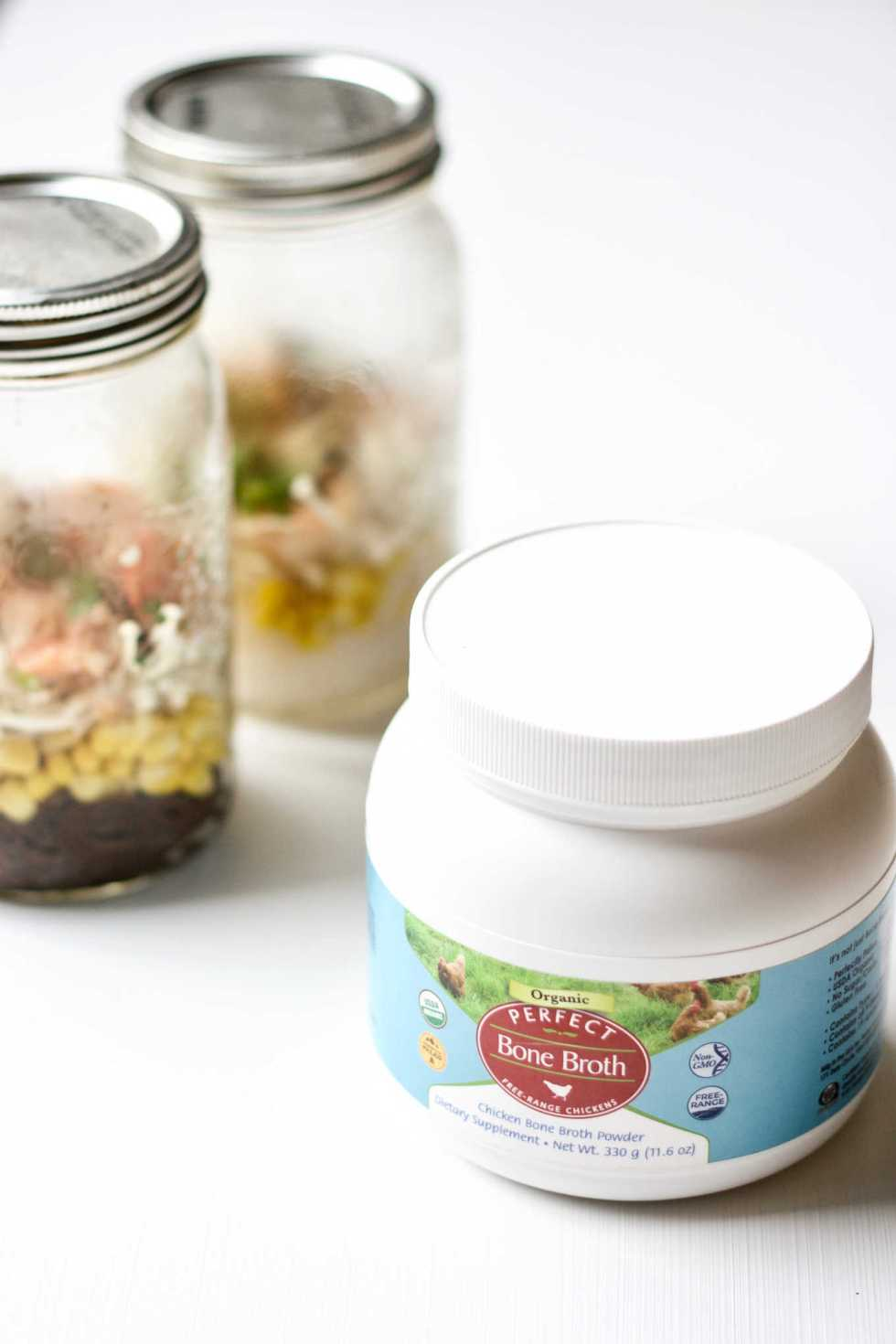 organic chicken bone broth powder makes a perfect soup base for noodle jars.