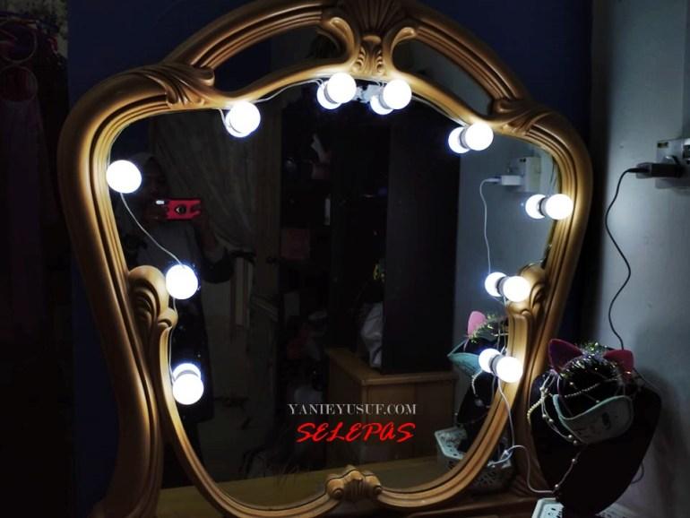 DIY Murah Cermin Solek Artis atau ala-ala  Vanity Mirror