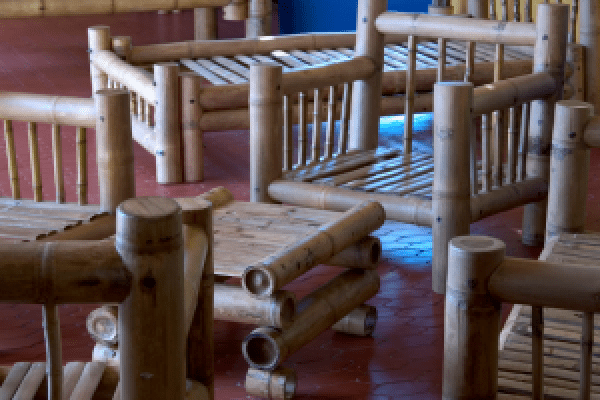 Indonesian bamboo furniture table and chair
