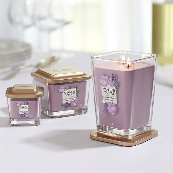 Elevation Sugared Wildflowers Square Candle display