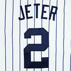 Authentic Derek Jeter Kid's New York Yankees Jersey White/Navy Stripes Size S