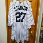 Majestic Mens Giancarlo Stanton Navy Pinstripes New York Yankees Replica Jersey