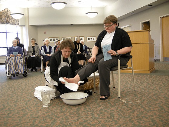 Yankton Benedictines Sr. Andree Mechtenberg foot washing