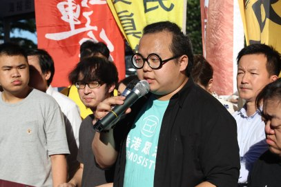 Leader of the League of Social Democrats Derek Lam and followers are demonstrating against the arrest of 26 people opposed to the Chinese regime