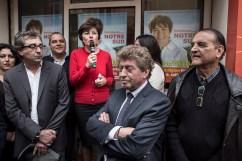 24 octobre 2015, Montpellier (34). 1er jour de campagne officiel de Carole Delga (PS). Discours d'inauguration du local de campagne par Carole Delga. Damien Alary (3ème en partant de la gauche), président de la Région Languedoc-Roussilon. Kleber Mesquida (4 ème en partant de la gauche).