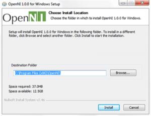 The OpenNI installation window