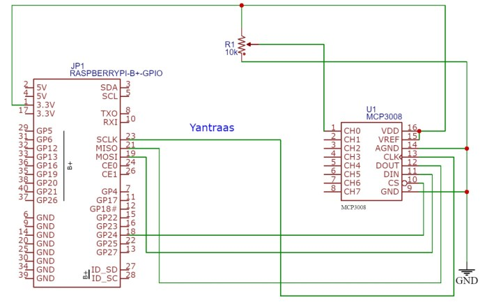 interfacing arduino sensors work with raspberry pi using a using MCP3008 ADC