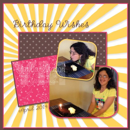 Birthday Wishes Scrapbook Page by Yapha Mason
