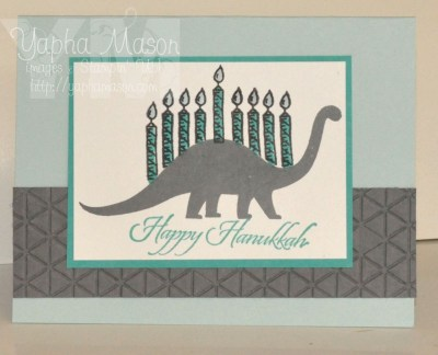Dinosaur Hanukkah Card by Yapha