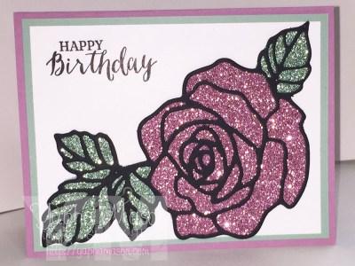 Glimmer Rose Birthday Card by Yapha