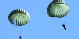 Самостоятельный прыжок с круглым десантным куполом с высоты 950 метров