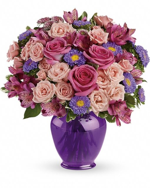 Purple-Medley-Bouquet-with-Roses