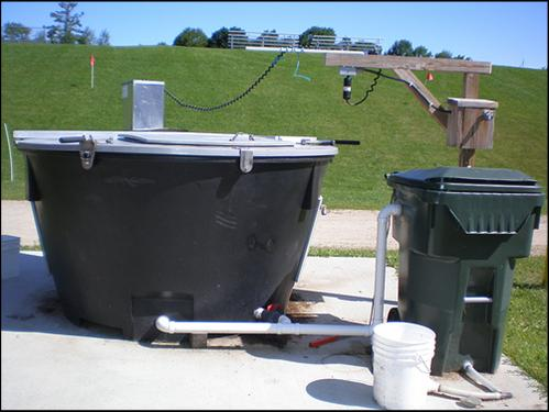 The EarthTub composter is where all food scraps from South Meadow School end up.