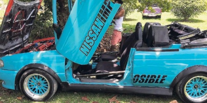 This Jamaican Man Converted his Car Into A Convertible [Video]
