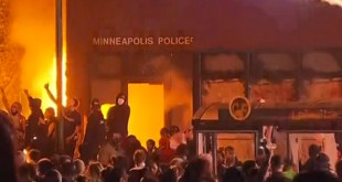 Minneapolis police station on fire
