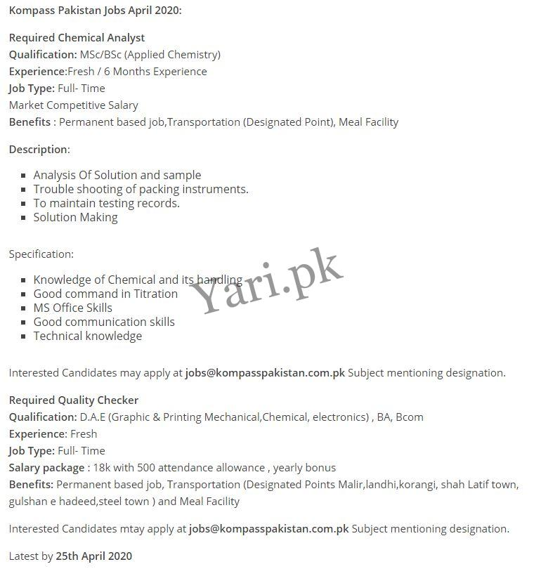 Chemical Analyst & Quality Checker Jobs | Today Jobs | 2020