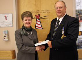 Paulette Sweeney-Goodwin, Managing Director, Yarmouth Hospital Foundation, accepts a $2,000.00 donation to the Foundation from Lloyd Wallis, Staff Sgt. Retired, representing the N.S. RCMP Veterans Association (Yarmouth region). The N.S. RCMP Veterans Association raised $14,000.00 through raffles and fundraising in 7 regions across the province, with each region receiving $2,000.00 for a local charity. Thank you for choosing the Yarmouth Hospital Foundation!!