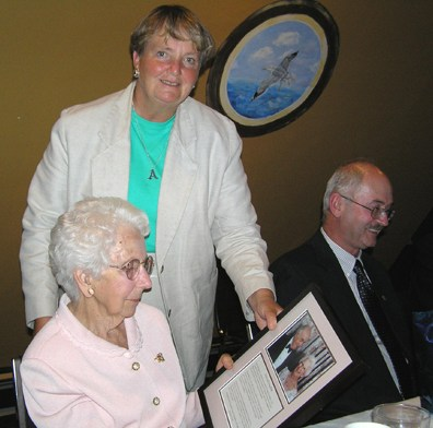 Oct 2004: YHF board member Patricia Caldwell presented an Exemplary Service award to Mrs. Ruth Pink. Mrs. Pink and her late husband Irving chaired the hospital expansion campaign that resulted in $10,000,000 being raised towards the project.