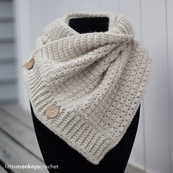 Comfy Squares Buttoned Cowl