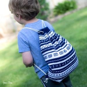 Mudcloth Bag | Backpack Cinch Bag Crochet Pattern by Yarn + Chai