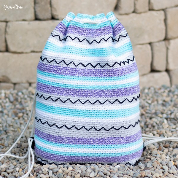 Zigzag Bag | Backpack Cinch Bag Crochet Pattern by Yarn + Chai