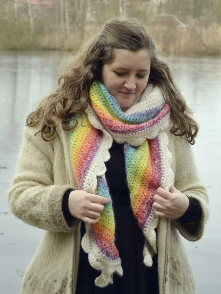 Rainbow shawl worn as a regular scarf, wrapped around the neck, with the colors overlapping