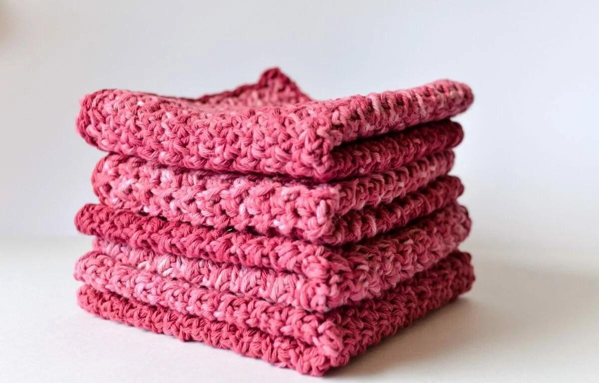Washcloths made with DIY gradient yarn