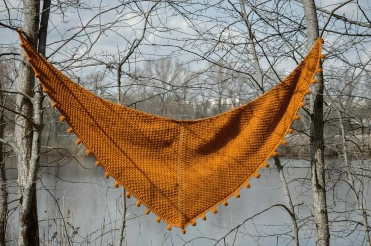 Limonite - Tunisian crochet shawl full view