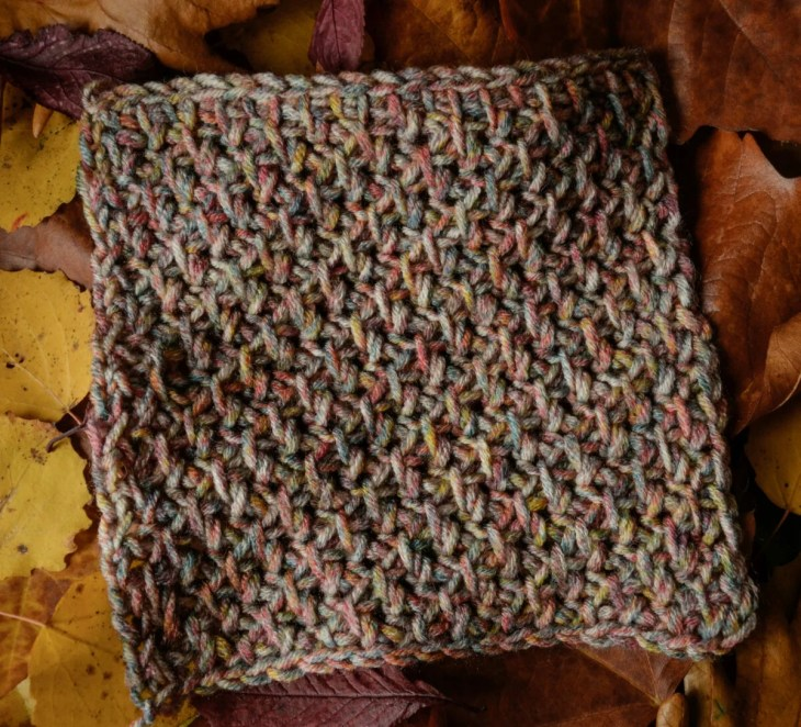 Asparagus stitch square -Tunisian crochet in variegated yarn