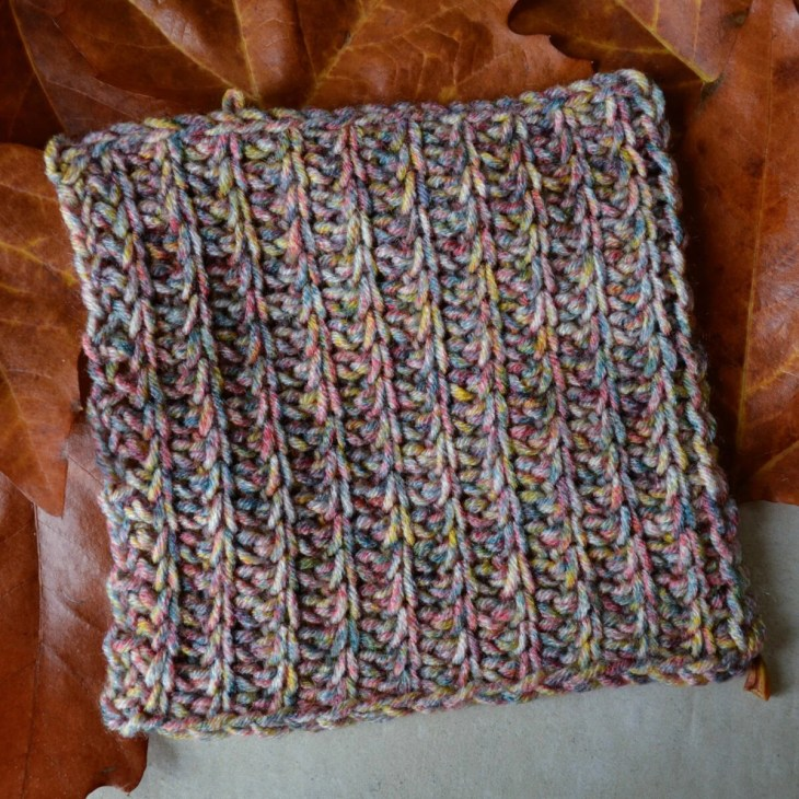 Tunisian crochet blanket square made with the rib stitch