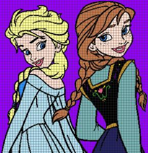Frozen – Elsa & Anna (Chart/Graph AND Row-by-Row Written Crochet Instructions) – 08