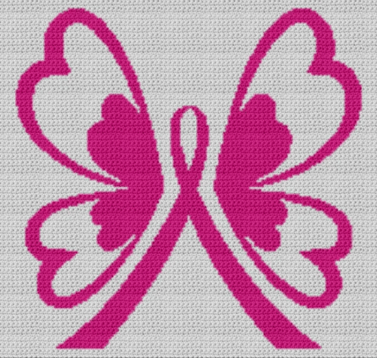 Breast Cancer Butterfly (Chart/Graph AND Row-by-Row Written Crochet Instructions) – 05