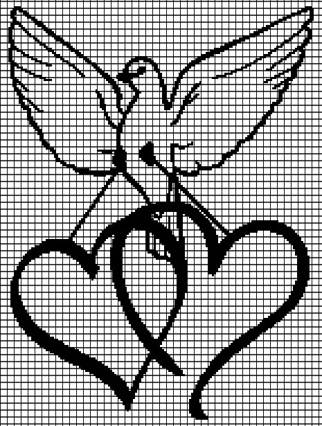 Dove with Hearts (Graph AND Row-by-Row Written Crochet Instructions) – 01