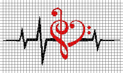 Music Love – Heartbeat (Graph AND Row-by-Row Written Crochet Instructions) – 12