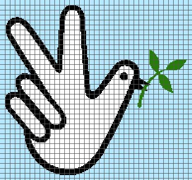 Peace – Dove and Peace Sign (Graph AND Row-by-Row Written Crochet Instructions) – 02
