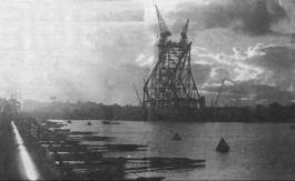 Howrah Bridge under construction - 1942.